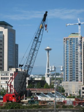 Seattle Space Needle and Crane