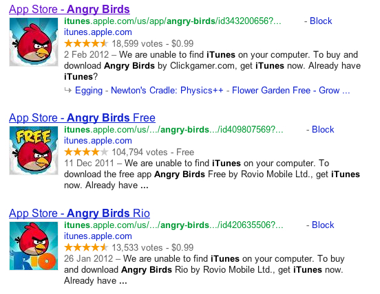 Google Search Engine Results Page for Angry Birds with useless description metadata
