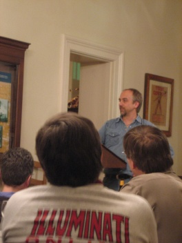 Richard Garriott, and Steve Jackson in the foreground (with the Illuminati logo)