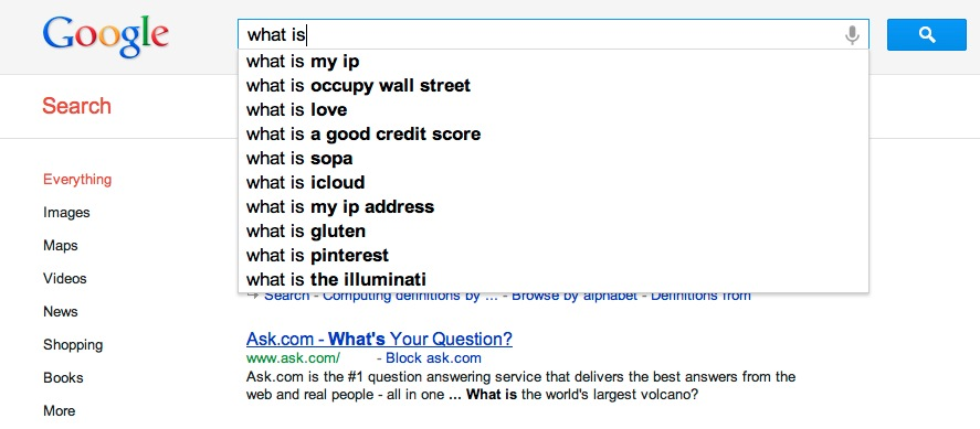 what is google instant search suggestions